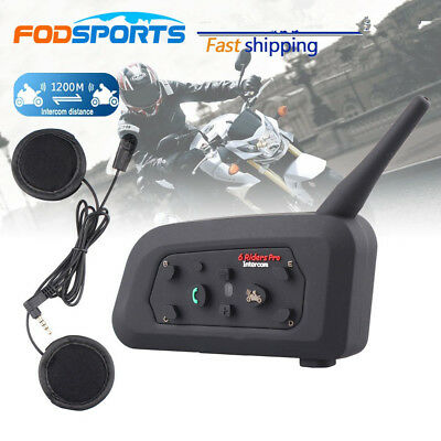 NEU V6 BT 1200M Motorrad Helm Bluetooth A2DP Gegensprechanlage Intercom Headset