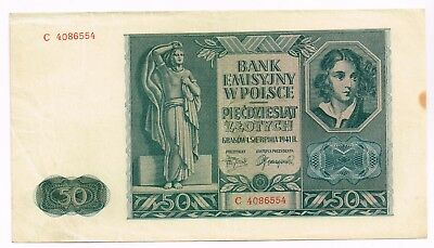 1940 POLAND 50 ZLOTYCH NOTE - p95