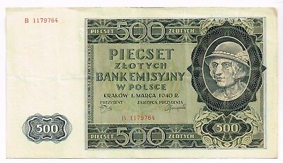 1940 POLAND 500 ZLOTYCH NOTE - p98