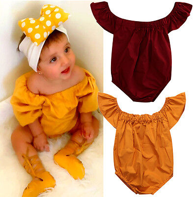 US Newborn Kids Baby Girls Off Shoulder Romper Jumpsuit Outfit Sunsuit Clothes