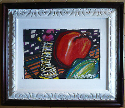 VANDERBILT, 90s MODERN MODERNISM, FRUIT APPLE ABSTRACT, EXPRESSIONIST STILL LIFE