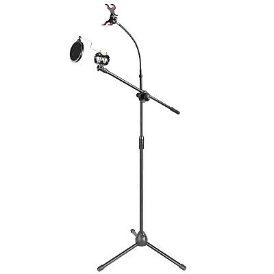 "Neewer 30-50"" Metal Microphone Stand with Boom Arm 360°Rotating Phone Holder"