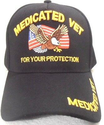 Medicated Vet For Your Protection Black Hat Military Cap