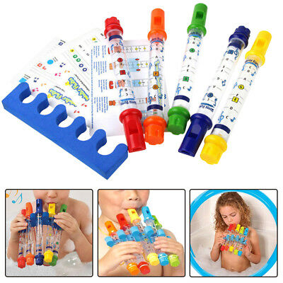 5pcs Water Flutes Whistles Music Sheets Musical Bath Time Toy Tub Tunes Songs US