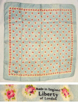"""Vtg Made in England Liberty of London Pink Rose Baby Blue Floral Silk Scarf 17"""""""