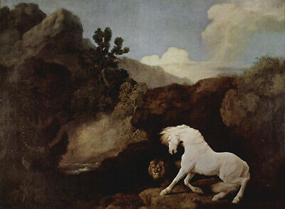 """perfect 36x24 oil painting handpainted on canvas """"A horse and a lion""""@N10116"""