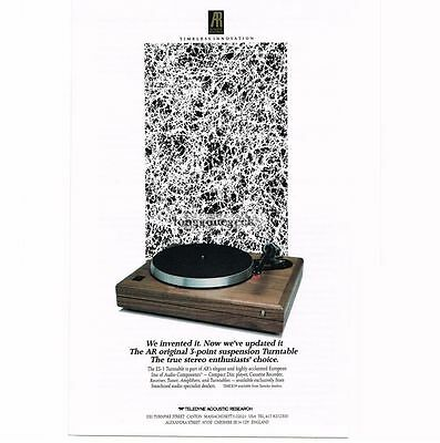 1989 Acoustic Research ES-1 Turntable Record Player Hi-Fi Stereo Vtg Print Ad