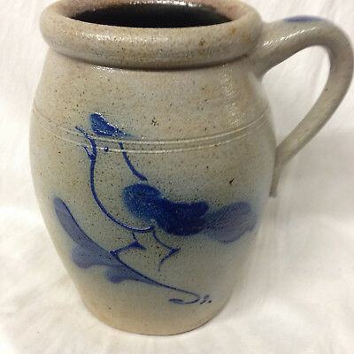 "Rowe Pottery Works Rpw Pitcher Jug 7 3/4"" Salt Glaze Blue Bird Ethan Allen"