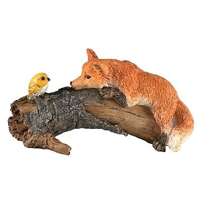 "Miniature Mini Playful Red Fox With Bird Figurine 3 3/8"" Long New In Box!"