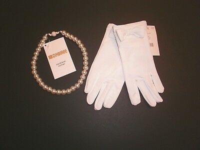 New Gymboree Dressy White Gloves & Pearl Necklace Easter Church Holiday Spring