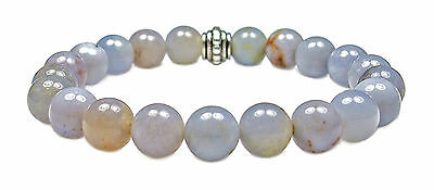 BRACELET - BLUE CHALCEDONY 8mm Round Crystal Bead w/Description - Healing Reiki