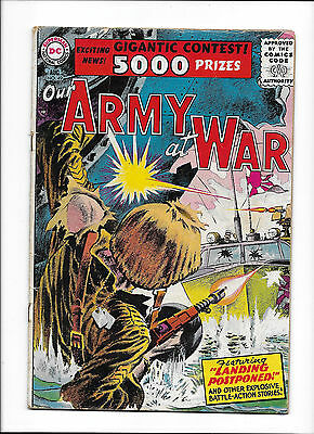 """Our Army At War #49  [1956 Vg+]  """"landing Postponed!""""  Grey-Tone Cover!"""