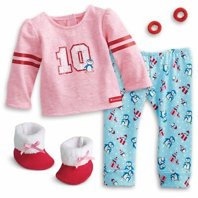 "* AMERICAN GIRL 18"" OUTFIT Holiday Penguin Pyjamas PJs for Doll - NEW IN BOX"