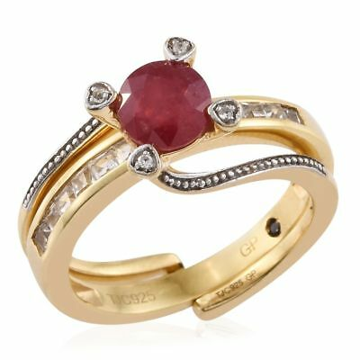 GP Ruby, White Topaz, Blue Sapphire 2 Ring Set in 14K Gold Over Silver 2.5 Ct