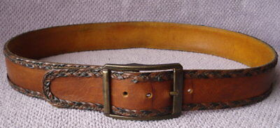 70s Vintage Hippie Biker Braided Lace Wide Brown Leather Belt & Buckle -Size 34