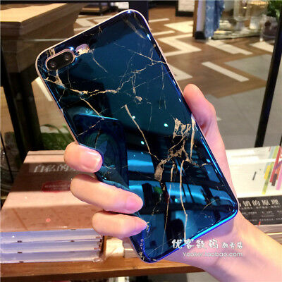 Luxury Glossy Granite Marble Stone Effect Blue Case Cover for iPhone 7 Plus X 6S