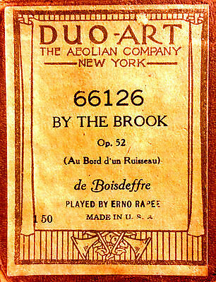 DUO-ART de Boisdeffre BY THE BROOK Op52 Reno Rapee 66126 Player Piano Roll