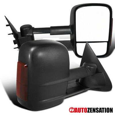 97-03 F150 Regular Super Cab Power Towing Side Mirrors+LED Signal Lights Pair