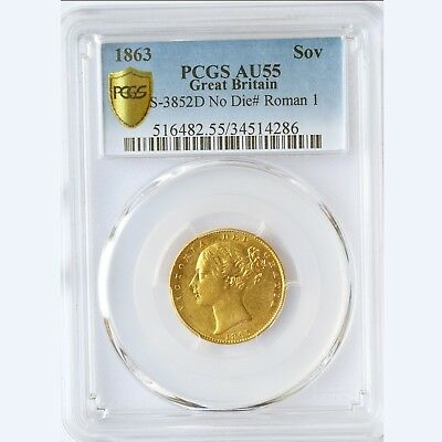 Very Rare Queen Victoria 1863 Gold Sovereign Roman I Pcgs Au55