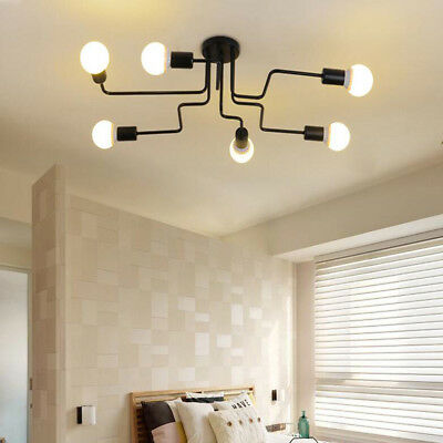 US Industrial Vintage Semi Flush Ceiling Chandelier Light Steampunk Pendant Lamp
