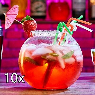 10 x LARGE 2.5L COCKTAIL FISH BOWL Plastic Fishbowl Drinking Punch Party Mixer