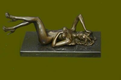 Signed Original Mavchi Nude Woman Daydreaming Bronze Sculpture Art Deco Figure
