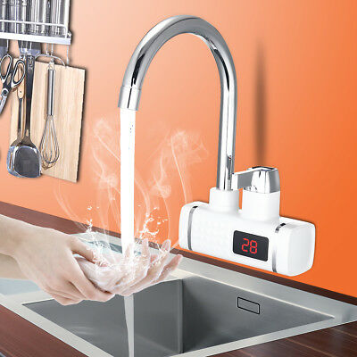 220V 3000W LED Digital 360° Electric Instant Heater Water Faucet Tap Tankless