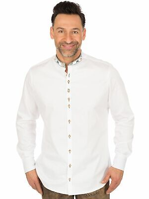 Os-trachten Traditional Shirt Slim Fit Stand up Collar Perino White