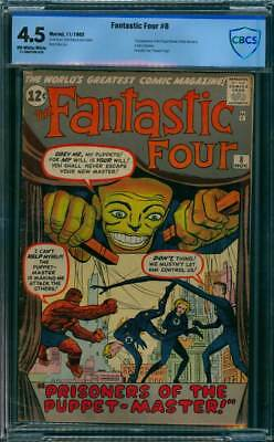 Fantastic Four # 8  Prisoners of the Puppet Master !  CBCS 4.5 scarce book !