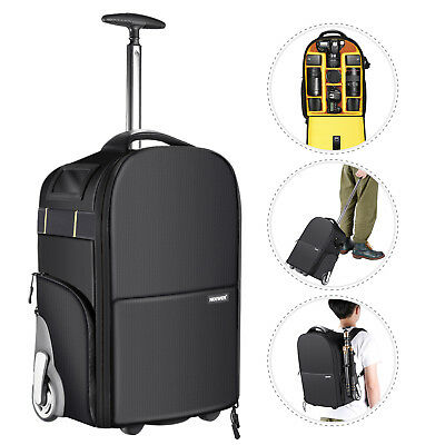 Neewer 2-in-1 Anti-shock Detachable Wheeled Camera Backpack Luggage Trolley Case