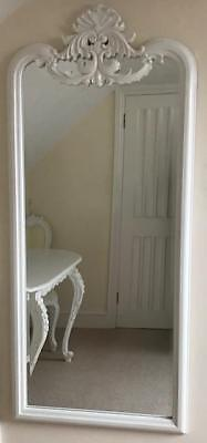 Large French Chateau Dressing Mirror Wall Standing Antique White Bedroom Ornate