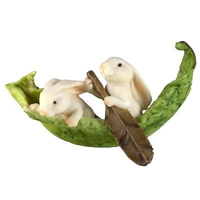 """Miniature White Bunny Rabbits Rowing In Leaf Boat Figurine 3"""" Long New In Box!"""
