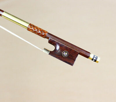Best OfferHigh quality 4/4 Gold Mounted  Snakewood Frog Pernambuco Violin Bow