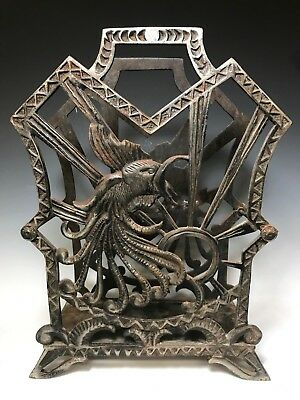 Vintage Art Deco Wrought Cast Iron Rooster Cock Magazine Newspaper Rack