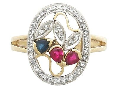 Vintage Ruby Sapphire and Diamond 18 Carat Yellow Gold Dress Ring 1940s Size W