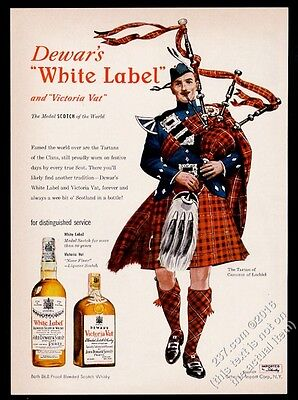 1949 Clan Cameron of Lochiel tartan bagpipes piper Dewar's Scotch Whisky ad