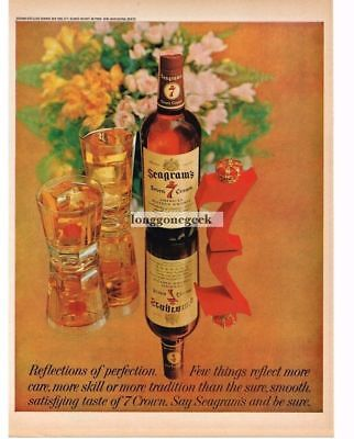 1961 SEAGRAM'S 7 Whiskey Mirror Image Vtg Print Ad