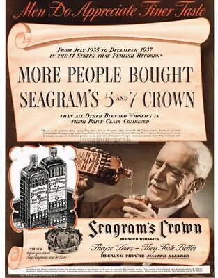 1938 Seagram's 7 and 5 Crown Whiskey Men Do Appreciate Finer Taste VTG PRINT AD