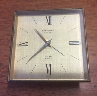 Antique quality 8 day Looping Swiss  travel alarm clock  15 Jewel Working order