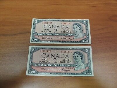 Lot of 2 Canada 2 Two Dollar Notes 1954 Foreign Paper Currency