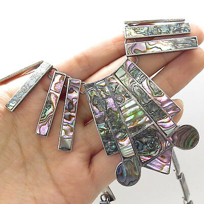 Vtg Mexico Rare 925 Sterling Silver Abalone Shell Wide Tribal Chain Necklace 18""
