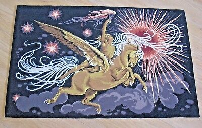 Large completed Tapestry Cross Stitch Needlepoint Winged Horse PEGASUS & GOD