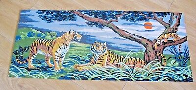 Large completed Tapestry Cross Stitch Needlepoint TIGERS IN THE JUNGLE on board