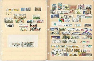 Singapore Collection on 4 Stock Pages, Nice Lot of Modern Stamps