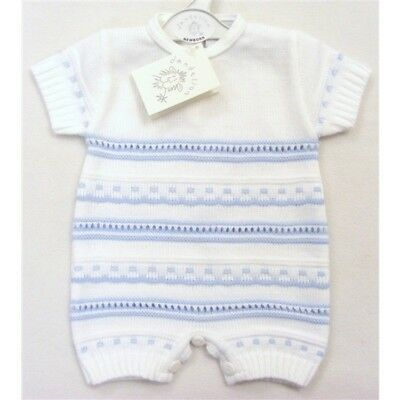 NEW Baby Boy Spanish Style Knitted Romper White / Blue 6-9 Month - PEQUILINO
