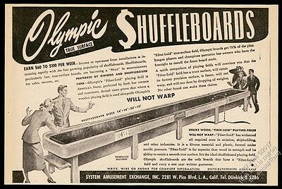 1948 Olympic Shuffleboard coin-op arcade game table photo vintage trade print ad