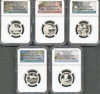 2018 S Silver Quarter Set Early Releases NGC PF69 Ultra Cameo