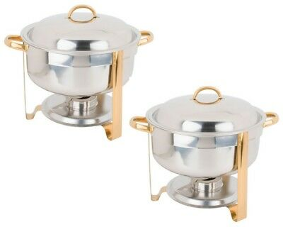 2 Deluxe Soup 8 Qt Chafers Marmite Chafing Steam Dishes Stainless Steel Buffet