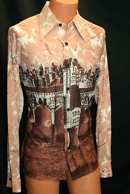 Mens L-XL Brown CITY STREETS Slinky  VTG 70s Disco Shirt SEARS Kings Road