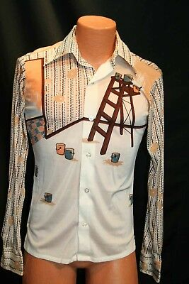 Mens S PAINT CANS LADDERS ART Slinky  VTG 70s Disco Shirt Wards L/S Nylon